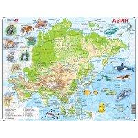 Пазл рамка-вкладыш Карта Азии с животными, серия МАКСИ ( рус. яз.), ТМ LARSEN