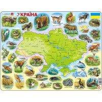 Пазл-вкладыш Карта Украины - животный мир, Larsen