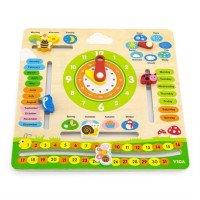 Дерев'яний календар з годинником, англійською мовою, Viga Toys
